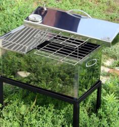 """Коптильня для горячего копчения с крышкой """"Домик"""" (520 х 300 х 310) из нержавеющей стали с термометром"""