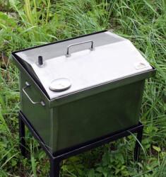 """Коптильня для горячего копчения с крышкой """"Домик"""" (400 х 300 х 310) с термометром"""