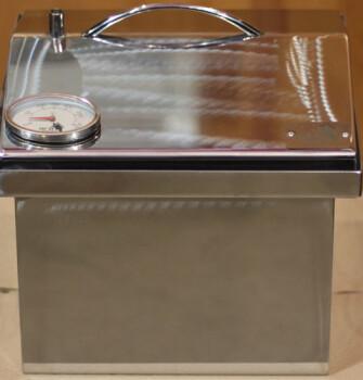 """Коптильня для горячего копчения с крышкой """"Домик"""" (300 х 300 х 250) из нержавеющей стали с термометром"""