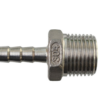 Штуцер под шланг 8 мм 1/2 дюйма (нержавейка)